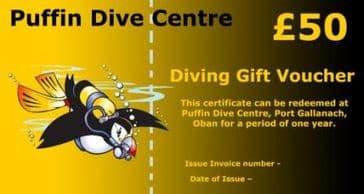 PDC DIVING GIFT VOUCHER £50