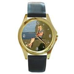 Personalised Photo Watch Round Gold Style