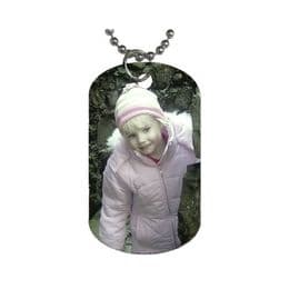 Silver Chrome Personalised Photo DogTag Pendant Necklace Jewellery
