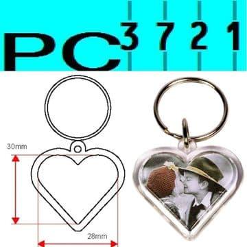 100 Blank Heart Shape Clear Plastic Keyrings 28 mm Max Insert G1512