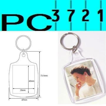 100 Blank Passport Photo Size Clear Plastic Keyrings 45 x 35 mm Insert 95457