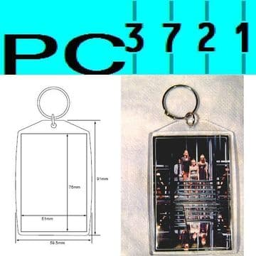100 Blank Rectangular Clear Plastic Jumbo Keyrings 76 x 51 mm Insert 83721