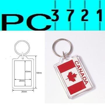 100 Blank Rectangular Clear Plastic Keyrings 43 x 28 mm Insert 09008