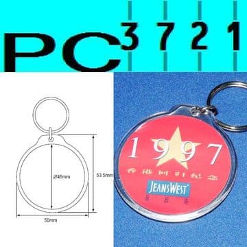 100 Blank Round Clear Plastic Keyrings 45 mm Diameter Insert 96506