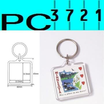 100 Blank Square Clear Plastic Keyrings 33.5 x 33.5 mm Insert 09012