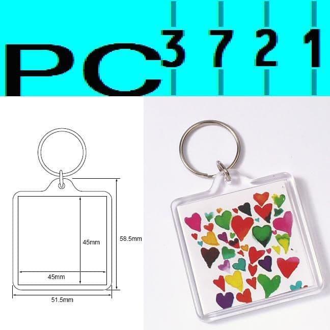 100 Blank Square Clear Plastic Keyrings 45 x 45 mm Insert 94312