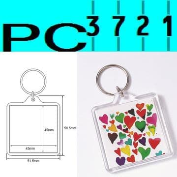 100 Blank Square Clear Plastic Keyrings 45 x 45 mm Insert 94312