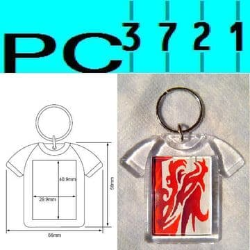 100 Blank T-Shirt Shape Clear Plastic Keyrings 41 x 30 mm Insert D1217