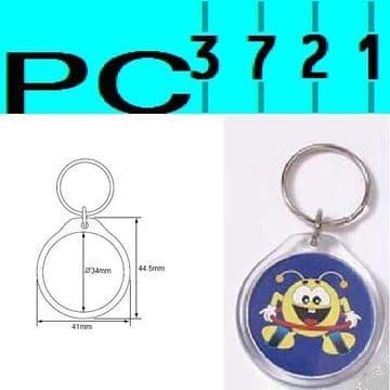 Pack of 10 Blank Round Clear Plastic Keyrings 34 mm Diameter Insert 09010