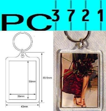 Wholesale 1000 Blank Rectangular Clear Plastic Keyrings 50 x 35 mm Insert 92033
